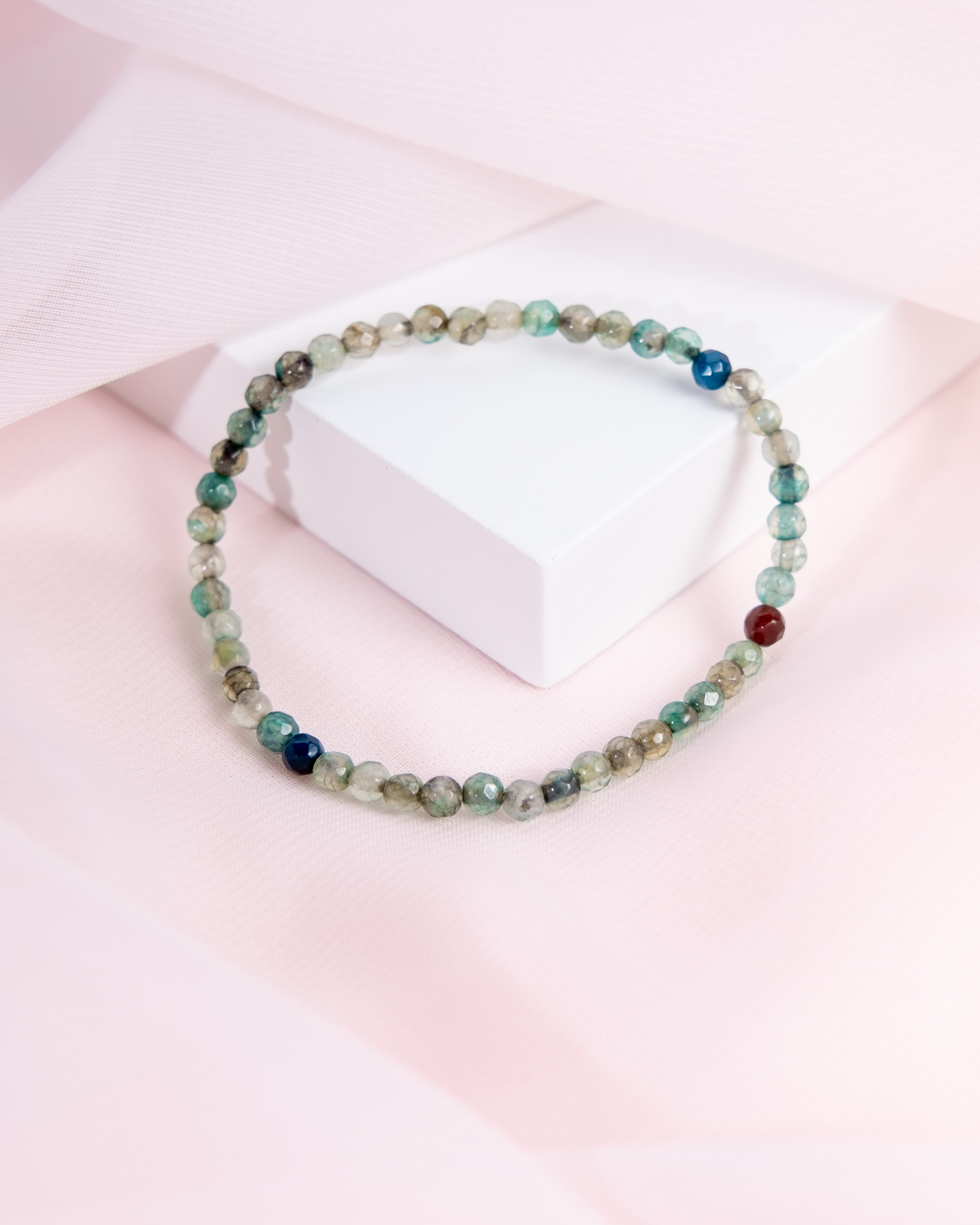 Handcrafted Blue-Green Genuine Onyx Bracelet from India